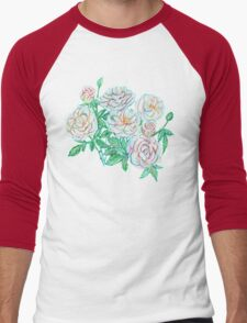 White roses pastel artwork Men's Baseball ¾ T-Shirt