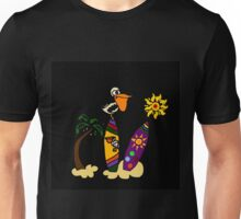 Cool Funny Pelican on Surfboard Surfing Art Unisex T-Shirt