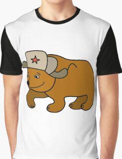 Cartoon Bear wearing a Russian hat earflaps Graphic T-Shirt