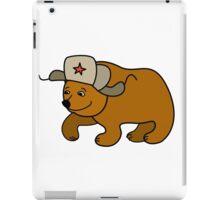 Cartoon Bear wearing a Russian hat earflaps iPad Case/Skin