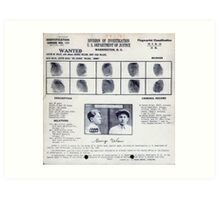 Baby Face Nelson Mugshot and Fingerprints Art Print