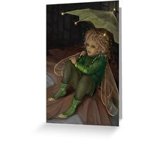 Autumn elf with umbrella Greeting Card