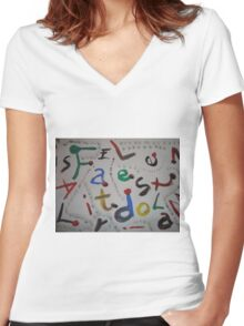 letters Women's Fitted V-Neck T-Shirt