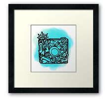 Camera Doodle With Watercolor Background Framed Print