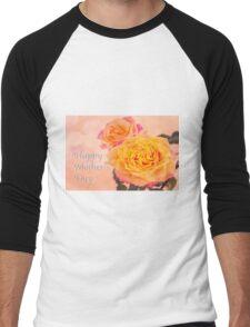 Happy Mother's Day Burst Of Beauty Orange Roses Men's Baseball ¾ T-Shirt