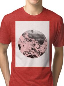 Pink marble abstract black and white grey monochromatic gender neutral dorm college hipster art painting Tri-blend T-Shirt