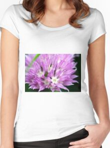 Macro Chive Blossom 4 Women's Fitted Scoop T-Shirt