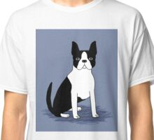 Boston Terrier sitting dog portrait customizable dog gift for dog owner with boston terrier cute gift for dog people Classic T-Shirt