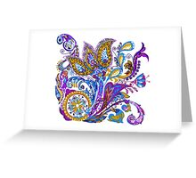 Paisley flower hand drawing illustration Greeting Card