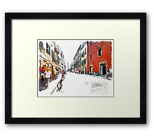 Teramo: street with people and bicycle Framed Print