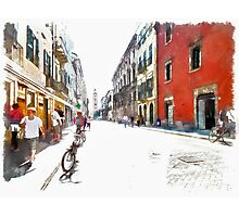 Teramo: street with people and bicycle Photographic Print