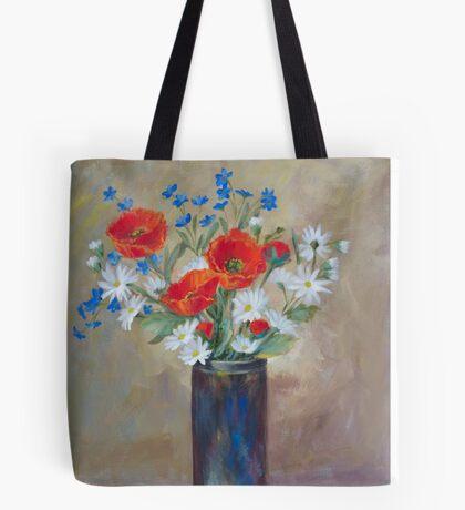Red Poppies in Raku Pottery Tote Bag
