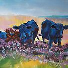 Black Cows on dartmoor landscape painting by MikeJory