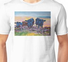 Black Cows on dartmoor landscape painting Unisex T-Shirt