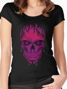 Flame Skull - Hot Pink (2) Women's Fitted Scoop T-Shirt