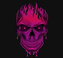 Flame Skull - Hot Pink (2) Womens Fitted T-Shirt