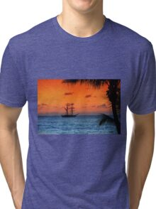 Caribbean Sunset Tri-blend T-Shirt