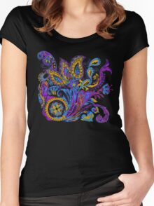 Paisley flower hand drawing illustration Women's Fitted Scoop T-Shirt