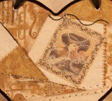 Music Themed Crazy Quilt Heart Sticker