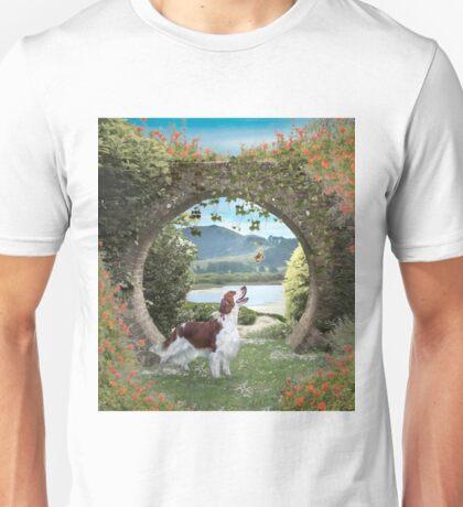 A Welshie enjoys a butterfly Unisex T-Shirt