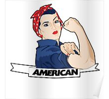 American Rosie Riveter for 4th of july Poster