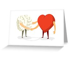 Brain and heart shaking hands Greeting Card