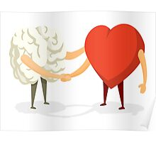 Brain and heart shaking hands Poster
