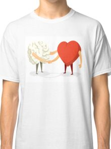 Brain and heart shaking hands Classic T-Shirt