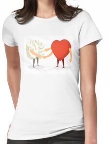 Brain and heart shaking hands Womens Fitted T-Shirt
