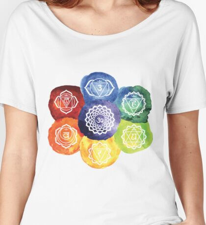 The 7 Chakras Flower Design Women's Relaxed Fit T-Shirt