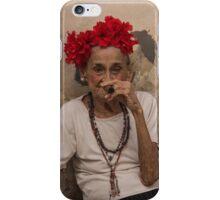 Old lady smoking cuban cigar in Havana iPhone Case/Skin