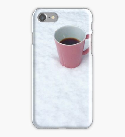 A Pink Cup of Coffee in the Snow iPhone Case/Skin