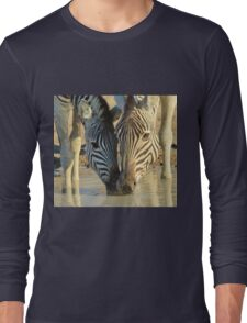 Zebra - African Wildlife Background - With Mother by my side Long Sleeve T-Shirt