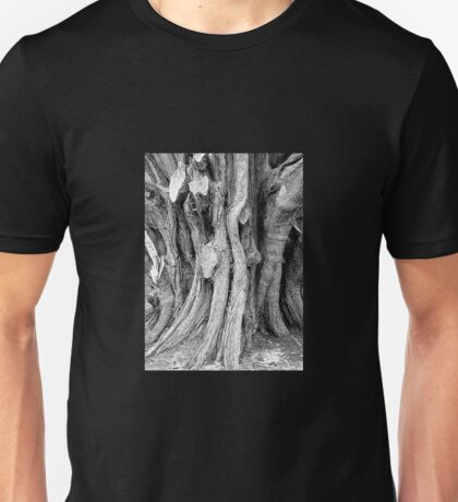 gnarled (also gnarly) . adj. knobbly, rough and twisted  Unisex T-Shirt
