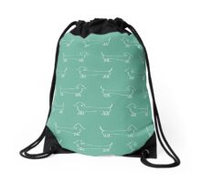 Dachshund Silhouette in Aqua Drawstring Bag