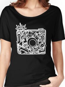 White Doodle Camera Graphic Women's Relaxed Fit T-Shirt