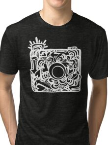 White Doodle Camera Graphic Tri-blend T-Shirt
