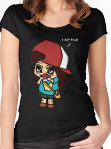 I Got You! Pokemon Trainer Girl (In Black Background) Women's Fitted Scoop T-Shirt