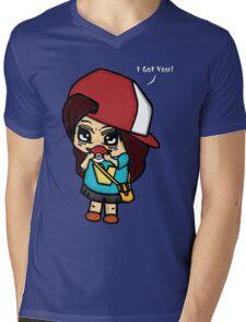 I Got You! Pokemon Trainer Girl (In Black Background) Mens V-Neck T-Shirt