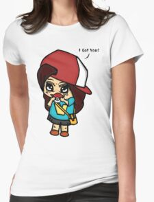 I Got You! Pokemon Trainer Girl (In White Background) Womens Fitted T-Shirt