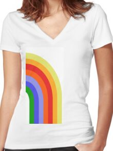 Groovy Rainbow Women's Fitted V-Neck T-Shirt