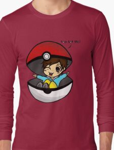 You Got Me! Pokemon Trainer Boy (In White Background) Long Sleeve T-Shirt