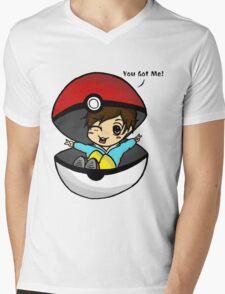 You Got Me! Pokemon Trainer Boy (In White Background) Mens V-Neck T-Shirt