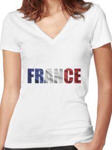 France Women's Fitted V-Neck T-Shirt