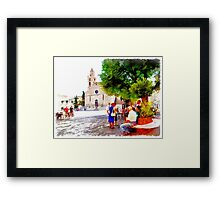Teramo: cathedral with older men and women Framed Print