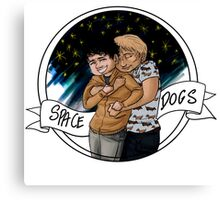 Just silly cute spacedogs cuddles Canvas Print