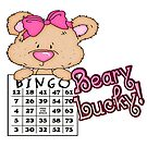 Beary Lucky Very Lucky Cute Girl Bingo Bear by doonidesigns