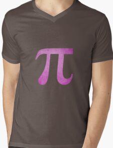Magenta Pi Symbol Mens V-Neck T-Shirt