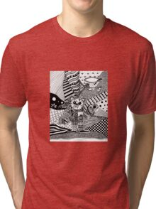 Black and white mouse doodle Tri-blend T-Shirt