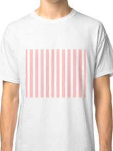 Pink And White Vertical Stripes Classic T-Shirt